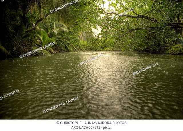 River at the entrance of the Cahuita National Park, Cahuita, Costa Rica.Costa Rica, officially the Republic of Costa Rica is a multilingual