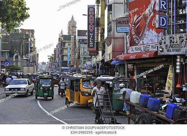 Main Street in Pettah neighbourhood, Colombo, Sri Lanka, Indian subcontinent, South Asia