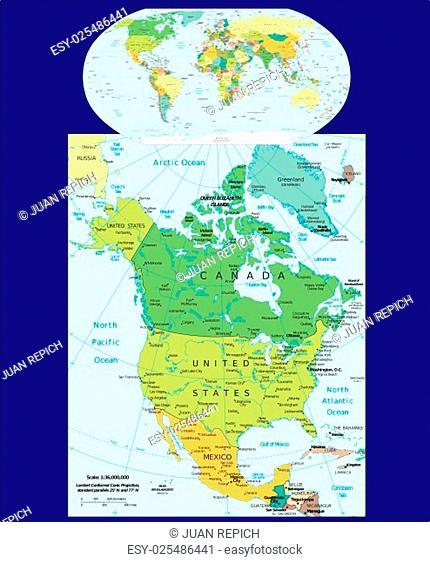 World and North America region map