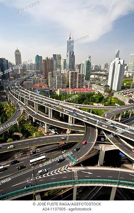 China-May 2010 Shanghai City Highway Crossing at Yannan Lu nad Chengdu Lu Avenues