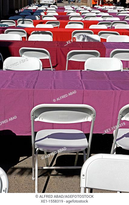 tables, chairs, festa de l'Aigua'11, Caldes de Malavella, Catalonia, Spain