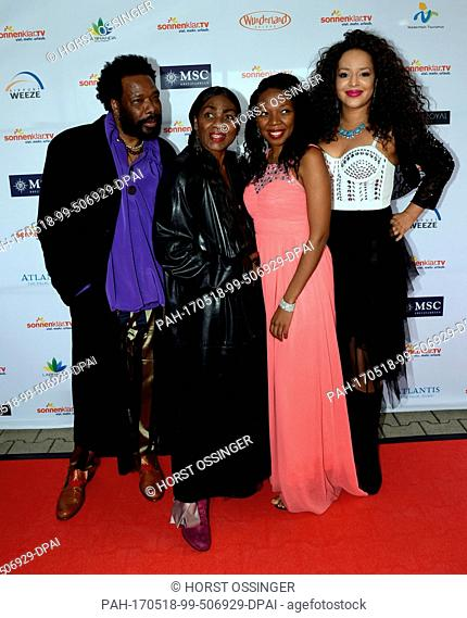 The band 'Boney M.' with singer Liz Mitchell (2nd l) poses during the gala for the award ceremony of the tourism and media award 'Goldene Sonne 2017' (lit