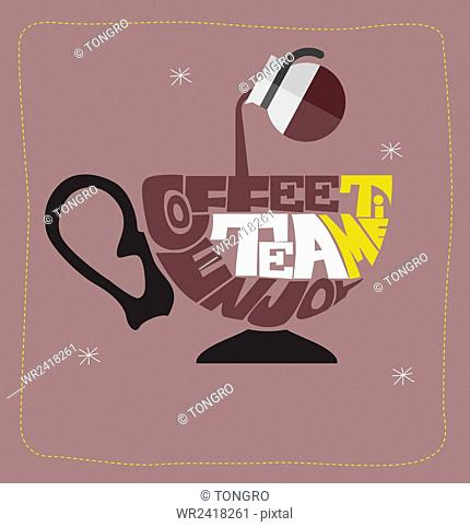 Tea cup shape in typography effect representing coffee and tea in illustration