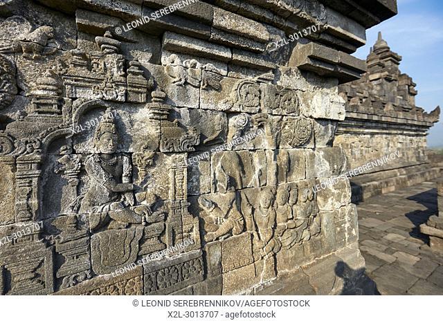 Reliefs on a corridor wall. Borobudur Buddhist Temple, Magelang Regency, Java, Indonesia