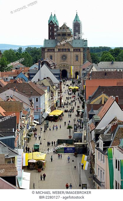 View across Maximilianstrasse street, Via Triumphalis street, western facade, Speyer Cathedral, Imperial Cathedral Basilica, a UNESCO World Heritage Site