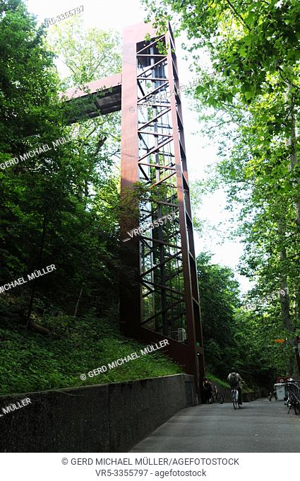 Switzerland: The elevator that takes you from Baden CIty to the Limmat River and Ennetbaden