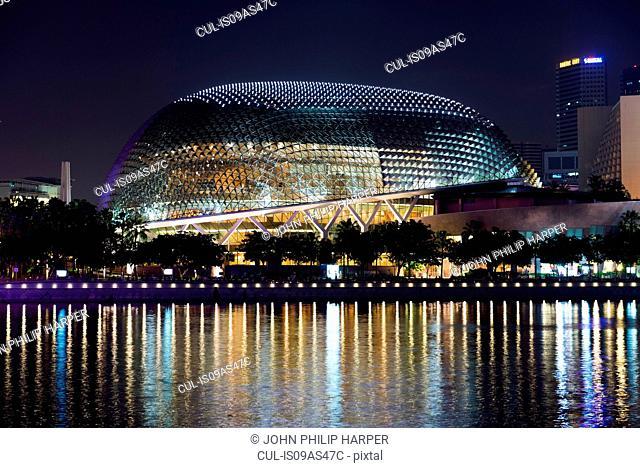 Esplanade Theatres at night, Marina Bay, Singapore