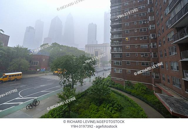 The Hudson Yards development disappears in a torrential downpour caused by the remains of Hurricane Florence traveling north on Tuesday, September 18, 2018