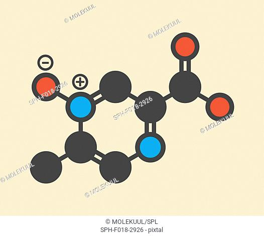 Acipimox hypertriglyceridemia drug molecule. Stylized skeletal formula (chemical structure): Atoms are shown as color-coded circles: hydrogen (hidden)