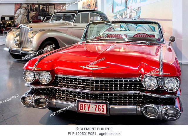 1959 Cadillac Series 62 / Series Sixty-Two American convertible classic car at Autoworld, vintage automobile museum in Brussels, Belgium