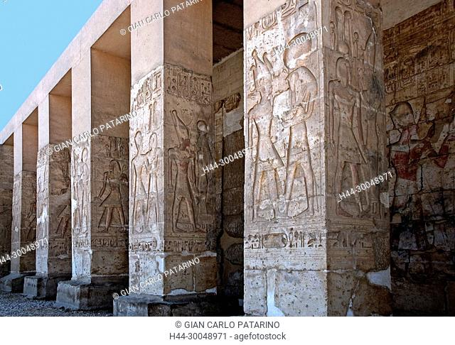 Abydos, Egypt, the mortuary temple of pharaoh Seti I. View of a carved column in the courtyard