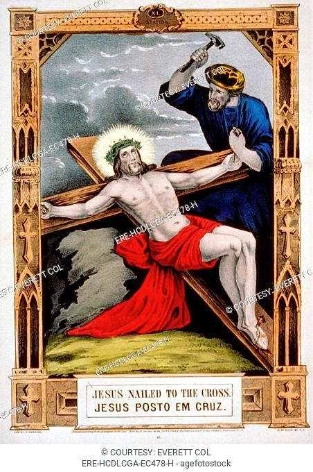 Jesus Christ, Jesus nailed to the cross, hand colored lithograph, published by N. Currier, 1848