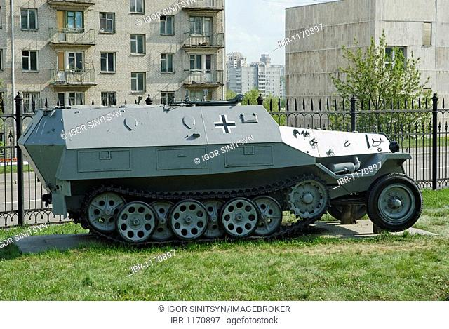 German armored troop-carrier, in action during Second World War, Poklonnaya Hill exhibition, Moscow, Russia