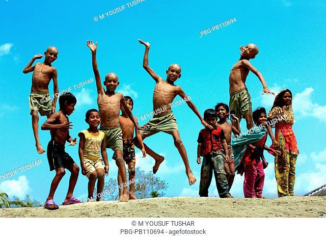 A group of funny children at Buri Goalini Ghat Sathkhira, Bangladesh April 2011