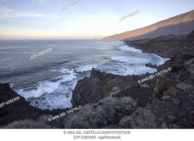 Landscape way to El Charco Azul El Hierro island Canary islands Spain
