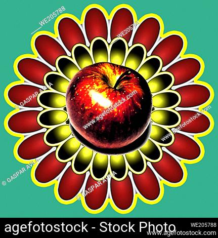Red apple at the center of digital daisy