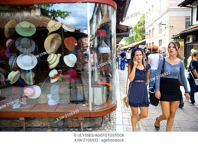 hats shop, ferhadija street, bascarsija, sarajevo, bosnia and herzegovina, europe