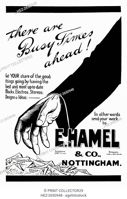'E. Hamel & Co. advert - There are busy times ahead!', 1919. Artist: Unknown