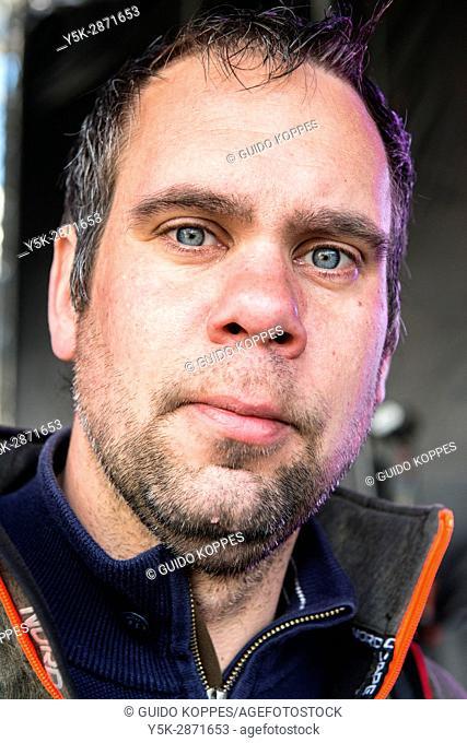 Tilburg, Netherlands. Close-up portrait of a mid adult caucasian male