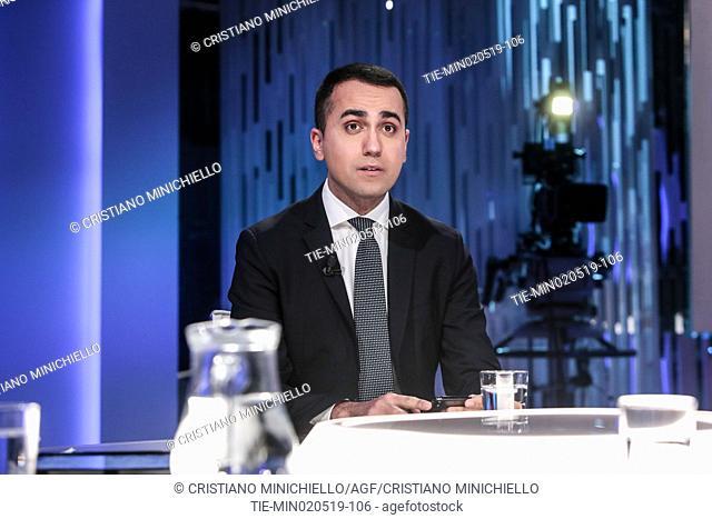 Italian Deputy Premier and Labour and Industry Minister Luigi Di Maio attends at the tv show Otto e mezzo, Rome, ITALY-02-05-2019