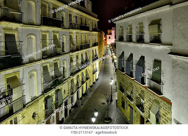 Nostalgic narrow street at night, Cadiz, Old town, Andalusia, Spain,
