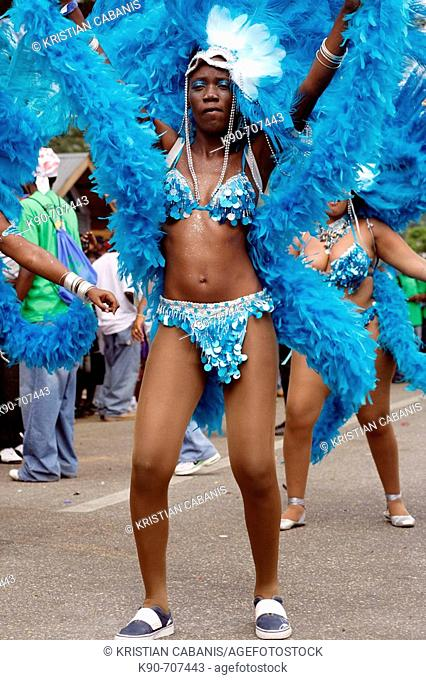 Woman dancing on the street and wearing Carnival costume, Trinidad Carnival, Queens Park Savannah, Port of Spain, Island of Trinidad