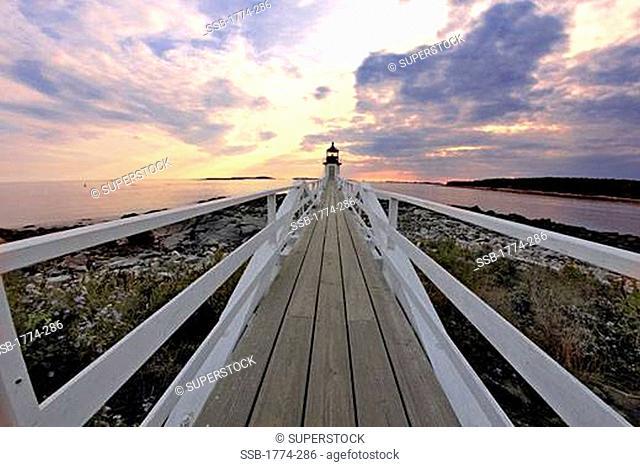 Lighthouse at the coast, Marshall Point Lighthouse, Port Clyde, Maine, USA