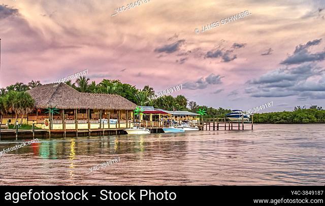 Sunset over Pops Sunset Grill on the Gulf Intercoastal Waterway in Nokomis Florida USA