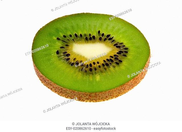 single slice of fresh green fruit of kiwi isolated on white background