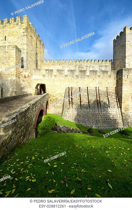 Entrance to the keep of the castle of San Jorge, Lisbon, Portugal