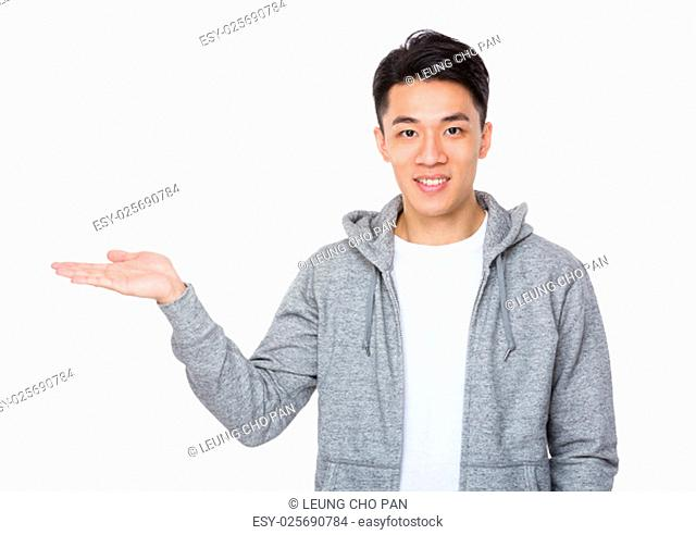Asian man with open hand palm