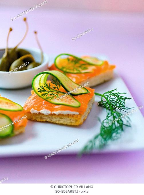 Plate of crackers with sliced salmon, cucumber and dill