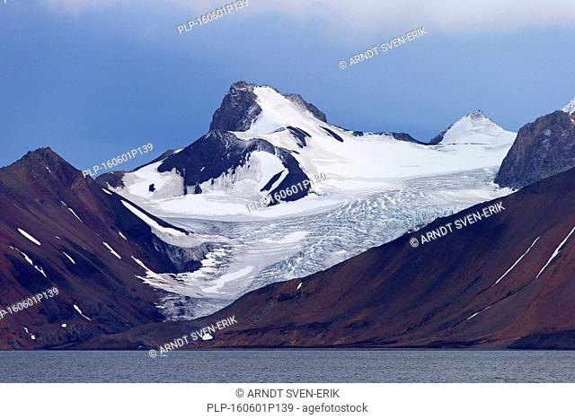 Mountain and glacier along the Hornsund fjord, west to the Greenland Sea, Svalbard, Norway