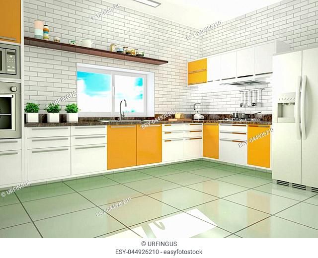 Bright kitchen in a modern style. 3d illustration