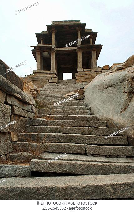 Two storied gateway behind Narasimha Temple. Hampi, Karnataka, India