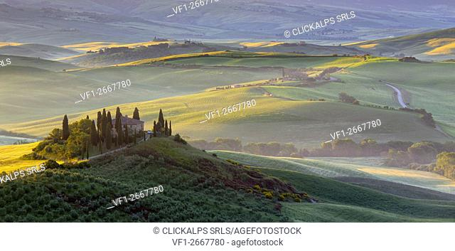 Podere Belvedere, San Quirico d'Orcia, Siena, Tuscan, Italy. Sunrise in Podere Belvedere