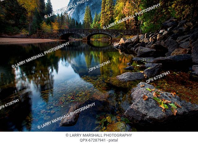 Bridge across Merced River in autumn, Yosemite National Park, California, USA