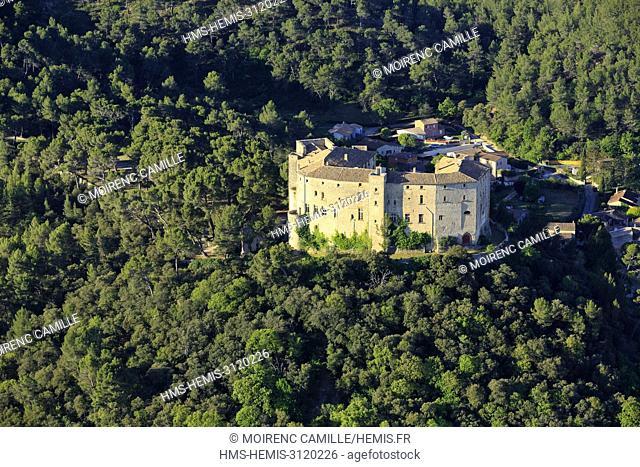 France, Bouches du Rhone, Pays d'Aix, Sainte Victoire Site, Meyrargues, castle IXe (aerial view)