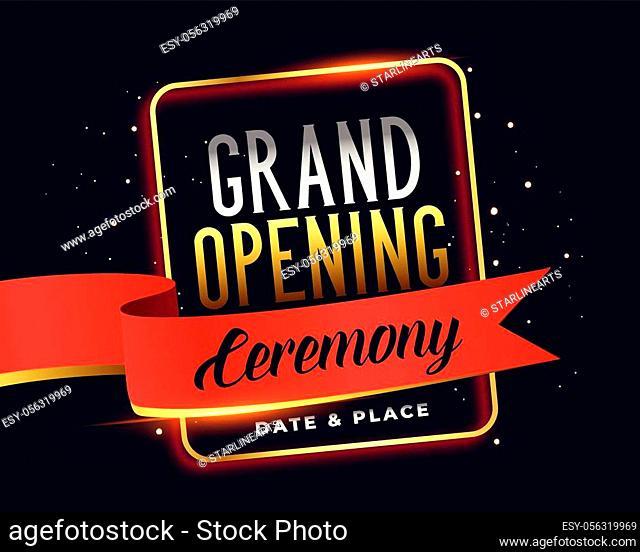 grand opening ceremoney invitation attractive banner design