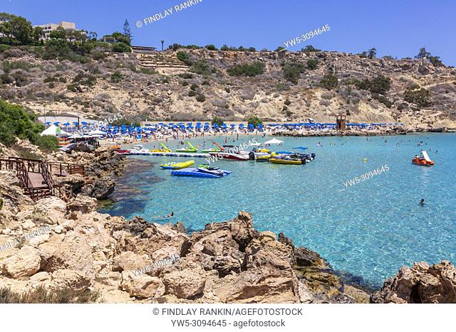 Tourists and holidaymakers on Konnos Bay, Cyprus