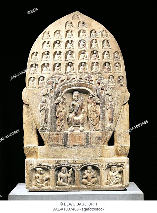 Maitreya Buddha, rear of a decorated votive stele, relief in white and gold coloured marble, China. Chinese Civilisation, Northern Qi Dynasty, 6th century