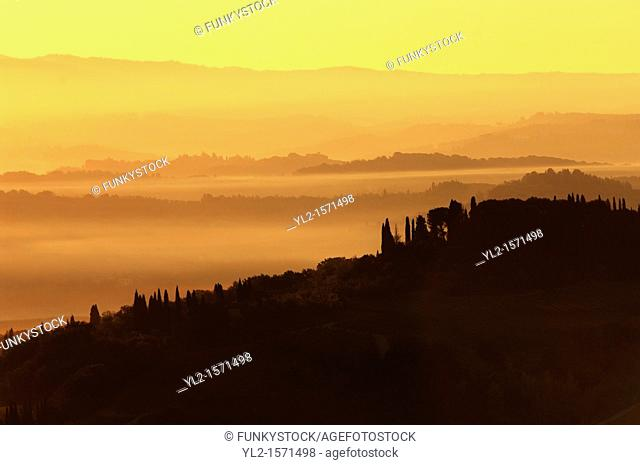 Views across the vineyards and olive groves of the Chianti Region from San Gimignano, Tuscany Italy