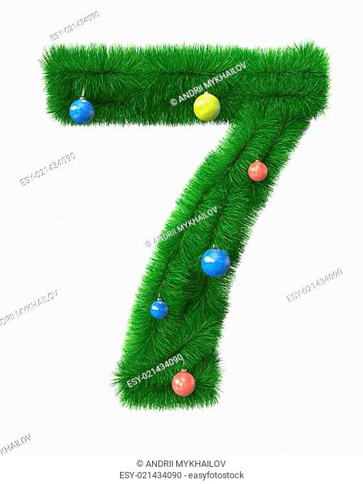 7 number made of christmas tree branches
