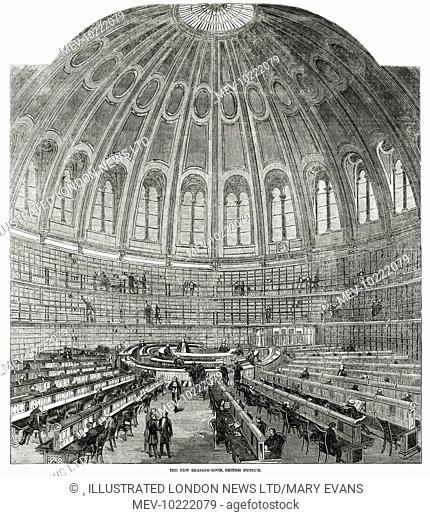 Interior of the Reading Room at the British Museum, London, 1857. The rotunda, walls of books and reading desks are clearly visible in this image