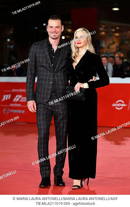 Christopher Backus and Mira Sorvino pose during the red carpet for 'Drowing' at the 14th annual Rome Film Festival, in Rome, ITALY-20-10-2019