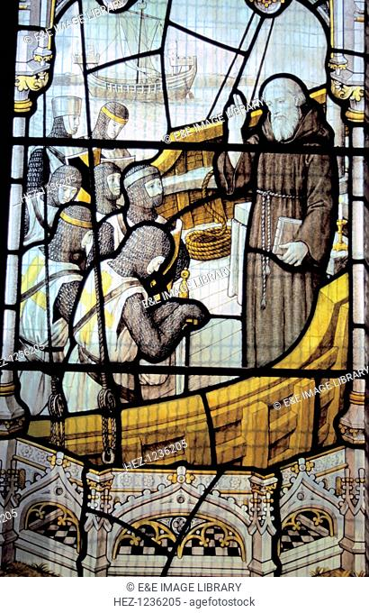 Blessing of Knights, stained glass, St Botolph's Church, Boston, Lincolnshire. The Church of St Botolph's is often known as the (Boston) Stump