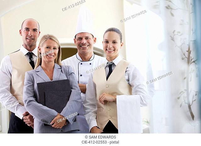 Staff smiling in restaurant