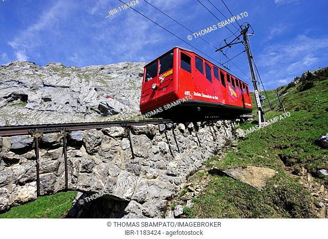 Cogwheel railway to Mount Pilatus, a recreational mountain near Lucerne, the 48% gradient making it the steepest cogwheel railway in the world, Switzerland