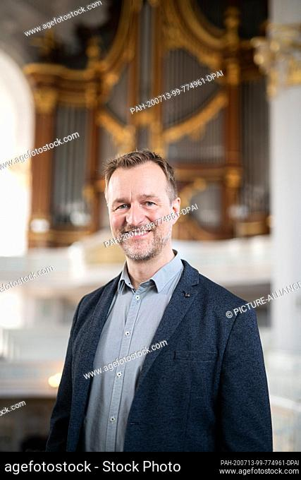 13 July 2020, Hamburg: Jörg Endebrock, cantor and organist at the main church of St. Michaelis, recorded at the Michel. Photo: Daniel Reinhardt/dpa