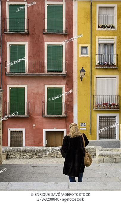 View of a coloured houses from Plaza Mayor of Cuenca city